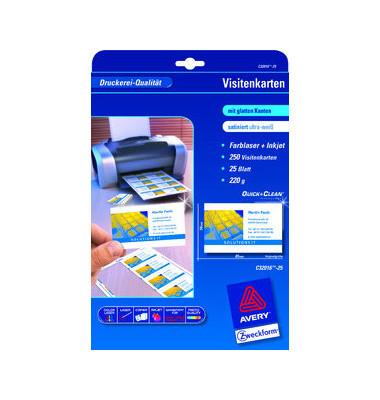 C32016-25 Visitenkarten weiß 85 x 54 mm 220g 250 Stück