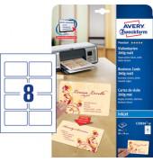 C32024-10 Visitenkarten weiß matt 85 x 54 mm 260g 80 Stück runde Ecken
