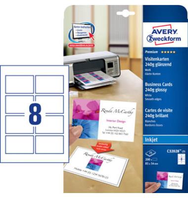 C32028-25 Visitenkarten glänzend weiß 85 x 54 mm 240g 200 Stück