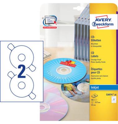 CD Etiketten C6074-20 Ø 117 mm weiß 40 Stück
