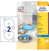 CD Etiketten C9660-25 Ø 117 mm weiß 50 Stück glänzend