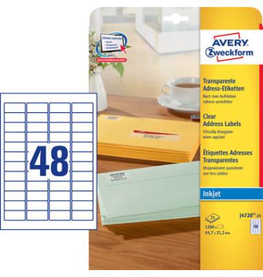 Etiketten transparent J4720-25 45,7 x 21,2 mm 1200 Stück QuickPeel