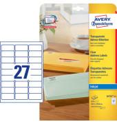 J4721-25 transparente Adress Etiketten 63,5 x 29,6 mm  675 Stück