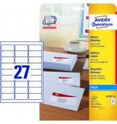 J4792-25 Adress Etiketten 63,5 x 29,6 mm weiß 675 Stück