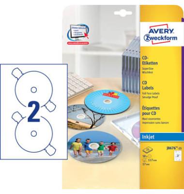 CD Etiketten J8676-25 Ø 117mm weiß 50 Stück