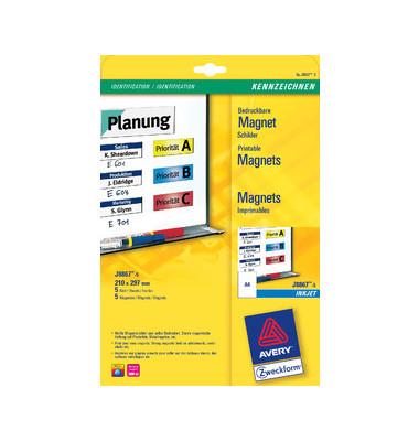 Magnetschild f.Inkjet Drucker weiß A4 210x297mm 5 St