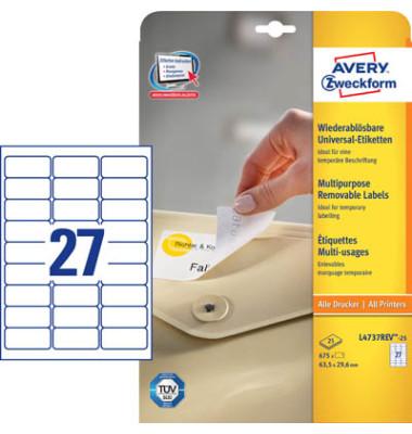 Etiketten L4737REV-25 63,5 x 29,6 mm weiß 675 Stück ablösbar