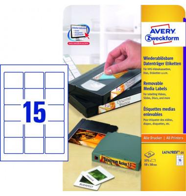 Disketten Etiketten L4747REV-25 59 x 50 mm weiß ablösbar