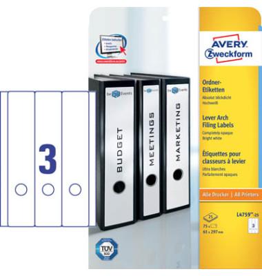 Ordneretiketten L4759-25 61 x 297 mm weiß zum aufkleben 75 Stück