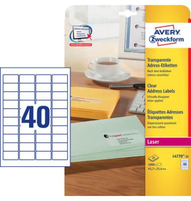 L4770-25 Adress Etiketten 45,7 x 25,4cm transparent 1000 Stück