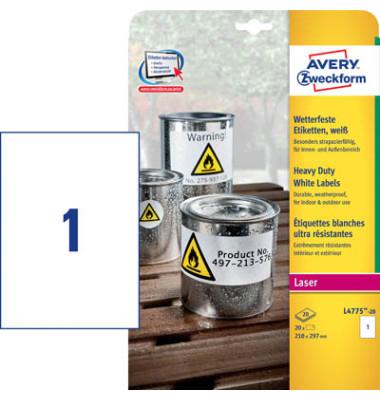 Etiketten L4775-20 210 x 297 mm weiß Folie 20 Stück wetterfest