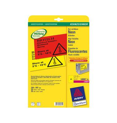 NEON Etiketten GELB L6006-25 210 x 297 mm 25 Stück