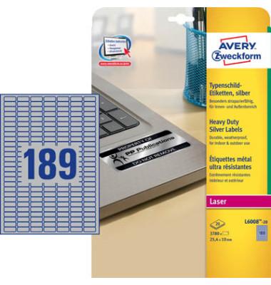 Typenschild Etiketten silber 25,4x10mm L600820