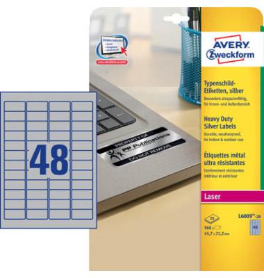 Typenschild Etiketten silber 46 x 21mm L600920 960 Stück