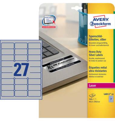 Typenschild Etiketten L6011-20 silber 63,5 x 29,6mm 540 Stück Folie strapazierfähig wetterfest