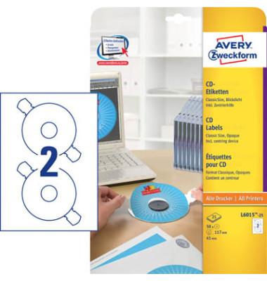 L6015-25 CD DVD Etiketten Ø 117 mm weiß 50 Stück mit Zentrierhilfe