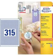Etiketten L6019REV-25 Ø 10 mm weiß RUND 7875 Stück