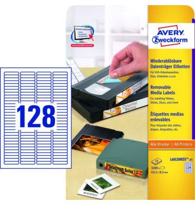 Etiketten L6020REV-25 43,2 x 8,5 mm weiß wiederablösbar Mini DV, VHS-C, DAT