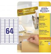 Etiketten L6021REV-25 45.7 x 16.9 mm weiß 1600 Stück wiederablösbar für Sichtreiter