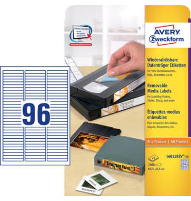 Etiketten L6022REV-25 63,5 x 8,5 mm weiß für Datenträger Hi8 8mm