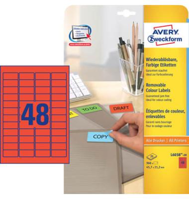 Etiketten ROT L6038-20 45,7 x 21,2 mm 960 Stück