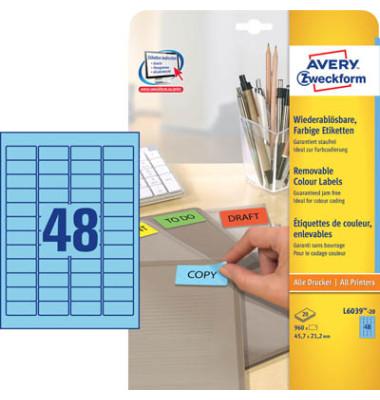 Mini Etiketten BLAU L6039-20 45,7 x 21,2 mm 960 Stück