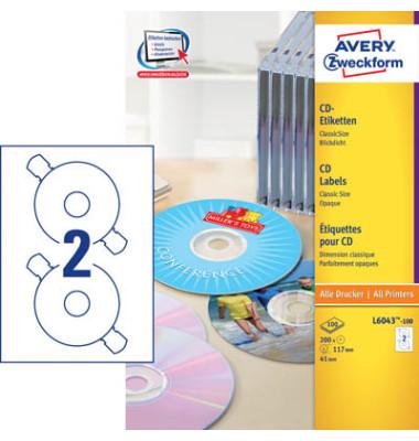 CD Etiketten 6043-100 Ø 117 mm weiß 200 Stück