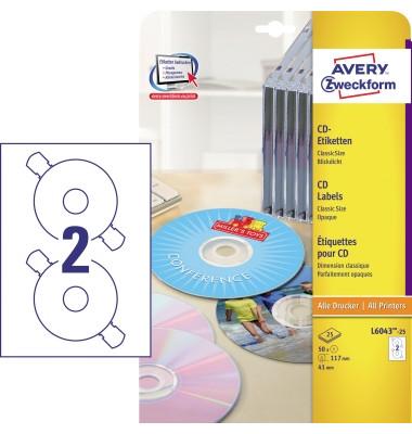 CD Etiketten L6043-25 Ø 117 mm weiß 50 Stück