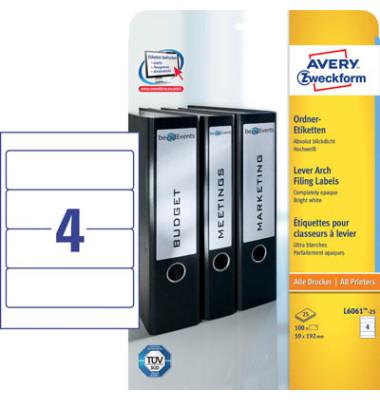 Ordneretiketten L6061-25 59 x 192 mm Blickdicht & Hochweiß 100 Stück