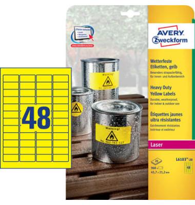 Etiketten GELB L6103-20 45,7 x 21,2 mm 960 Stück Folie strapazierfähig wetterfest