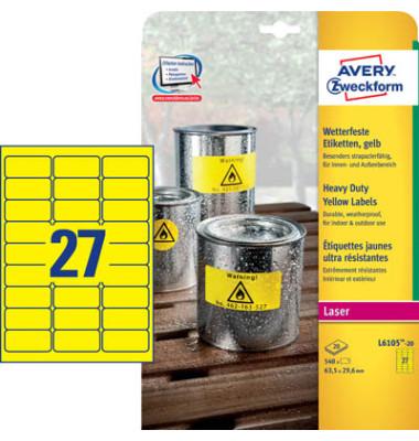Typenschild Etiketten L6105-20 gelb 63,5 x 29,6 mm 540 Stück Folie strapazierfähig wetterfest