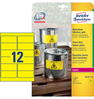 Etiketten GELB L6107-20 99,1 x 42,3 mm 240 Stück Folie strapazierfähig wetterfest