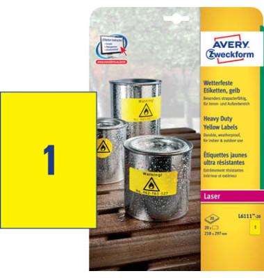 Etiketten GELB L6111-20 210 x 297 mm 20 Stück Folie stapazierfähig wetterfest
