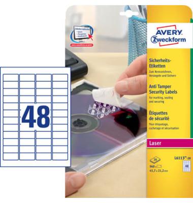 Sicherheits Etiketten L6113-20 45,7 x 21,2 mm weiß PE Folie 960 Stück