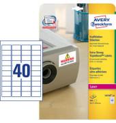 Etiketten L6140-20 45,7 x 25,4 mm weiß mit Kraftkleber 800 Stück