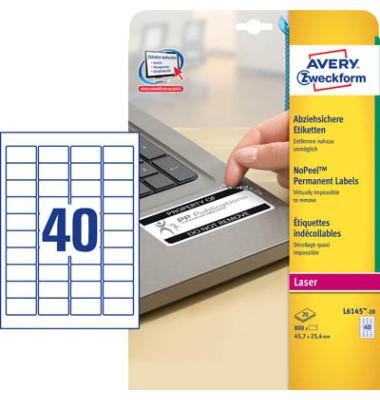 Etiketten L6145-20 45,7 x 25,4 mm weiß 800 Stück abziehsicher