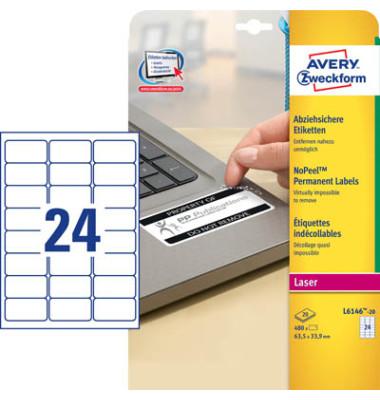 Etiketten L6146-20 63,5 x 33,9 mm weiß abziehsicher
