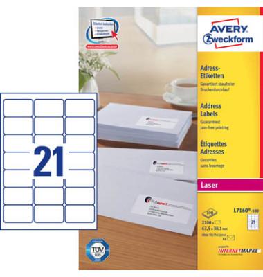 L7160-100 Adress Etiketten 63,5 x 38,1 mm weiß 2100 Stück