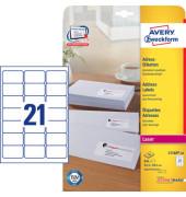 L7160-40 Adress Etiketten 63,5 x 38,1 mm weiß 840 Stück QuickPeel