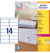 Etiketten L7163-100 99,1 x 38,1 mm weiß 1400 Stück QuickPeel