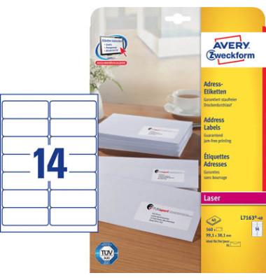 L7163-40 Adress Etiketten 99,1 x 38,1 mm weiß 560 Stück