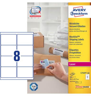 L7165-100 Versand Etiketten 99,1 x 67,7 mm weiß 800 Stück blickdicht