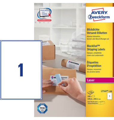 L7167-100 Versand Etiketten 199,6 x 289,1 mm weiß 100 Stück blickdicht