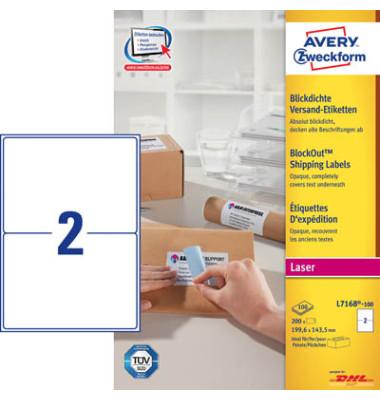 L7168-100 Versand Etiketten 199,6 x 143 mm weiß 200 Stück blickdicht