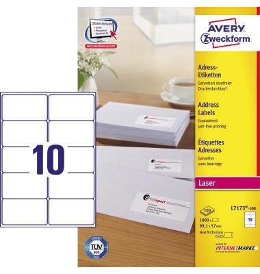 L7173-100 Adress Etiketten 99,1 x 57 mm weiß 1000 Stück QuickPeel