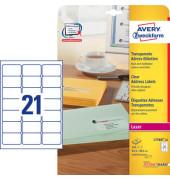 L7560-25 Adress Etiketten 63,5 x 38,1 mm transparent Folie 525 Stück