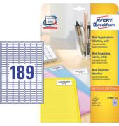 Organisations Etiketten L7658-25 25,4 x 10 mm weiß 4725 Stück Mini