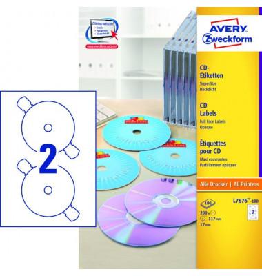 CD Etiketten L7676-100 Ø 117 mm weiß 200 Stück