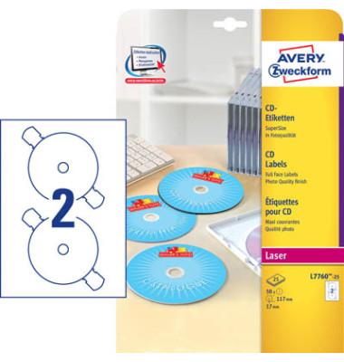 CD Etiketten L7760-25 Ø 117 mm weiß glänzend 50 Stück