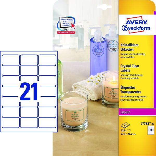 Zweckform etiketten kristallklar l7782 25 63 5 x 38 1 mm for Schreibtisch 1m lang